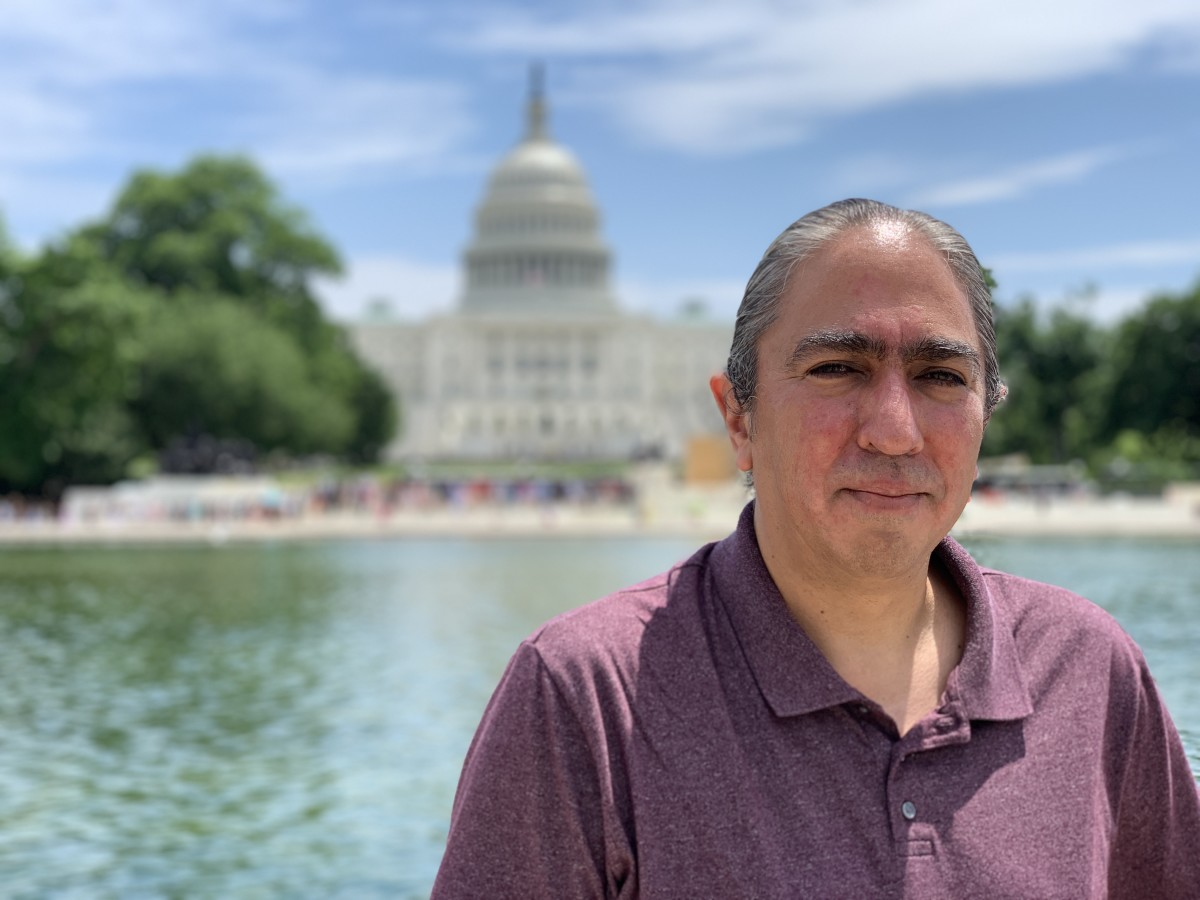 Mark Charles, presidential candidate for the 2020 election, in front of the Capitol.