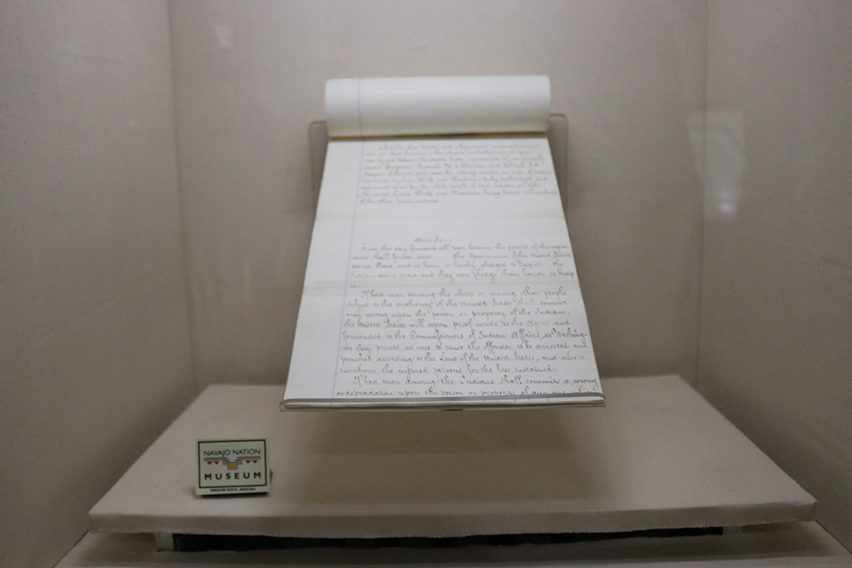Pictured: The Tappan Copy of the Treaty of 1868 at the Navajo Nation Museum.
