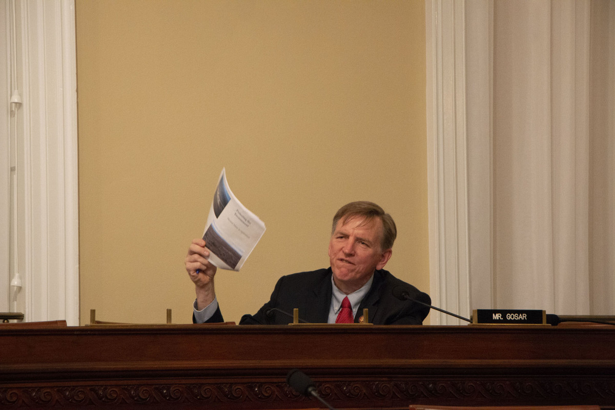"""Rep. Paul Gosar, R-Prescott, angrily challenged supporters of the mining ban proposed around the Grand Canyon, saying their claims of environmental harm from uranium mining amounted to """"scare tactics."""" (Photo by Miranda Faulkner/Cronkite News)"""