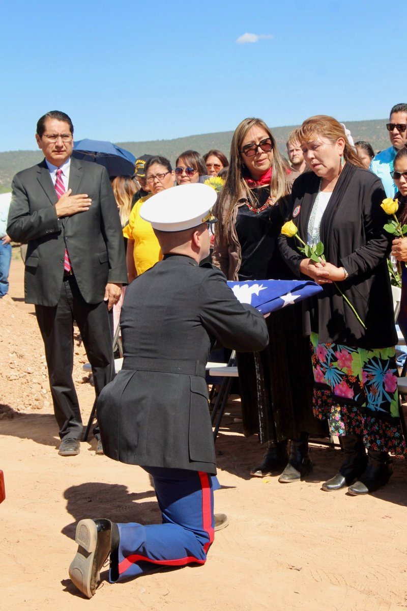 Pictured: The U.S. Marine Corps presents the United States flag to the family of Navajo Code Talker William Tully Brown at Navajo Nation Veterans Memorial Cemetery in Fort Defiance, Arizona, on June 6, 2019.