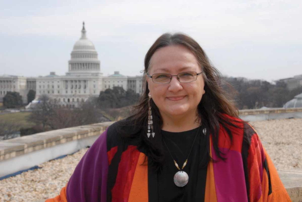 Pictured: Suzan Shown Harjo with U.S. Capitol in the background, from the National Museum of the American Indian.