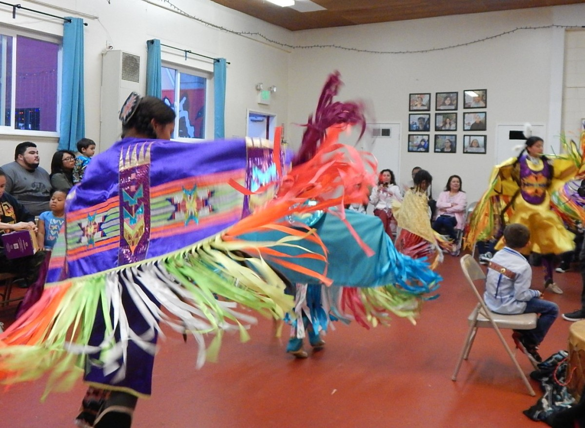 Traditional fancy shawl dancers at Intertribal Friendship House