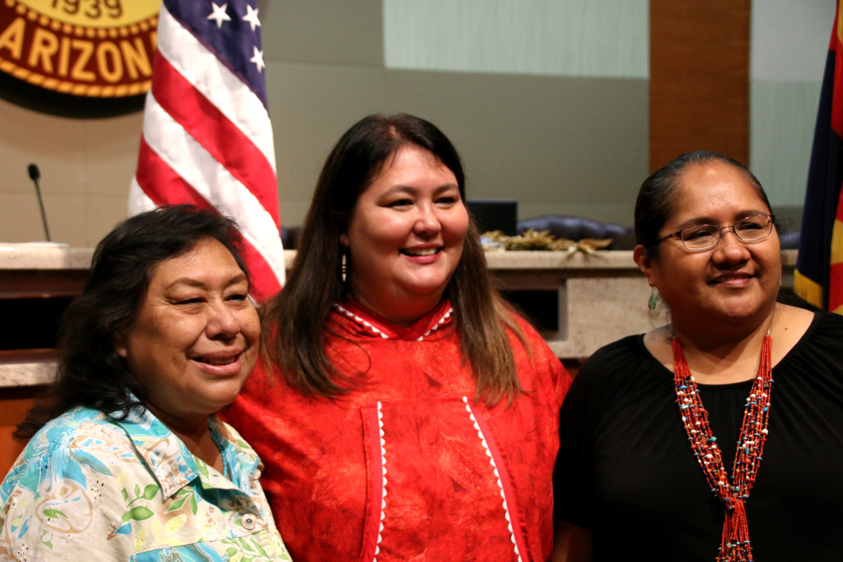 """Debbie Nez-Manuel, Navajo, and Rosetta Walker, Sicangu Lakota, stand with Tara Sweeney. Nez-Manuel and Walker are two of the Native activists who advocated for passage of HB 2570. The legislation, signed by Arizona Gov. Doug Ducey, establishes a committee to study how the state can """"reduce and end violence against Indigenous women."""""""