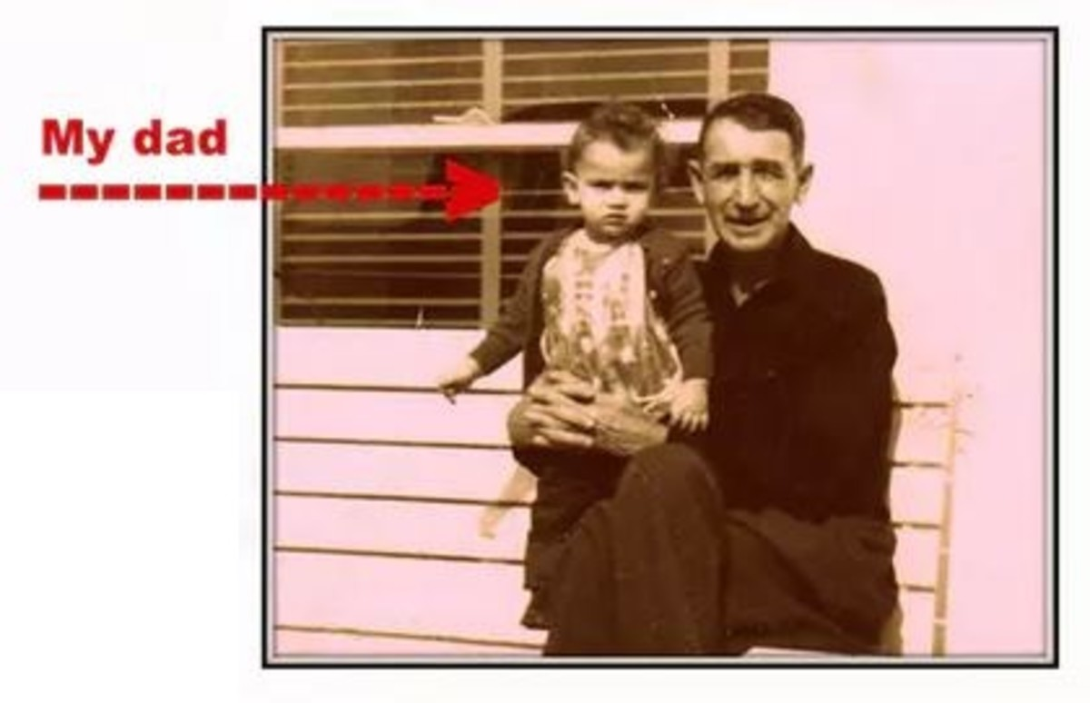 An old photo of my father, Raymond Schilling with his Grandfather. (Circa 1947)