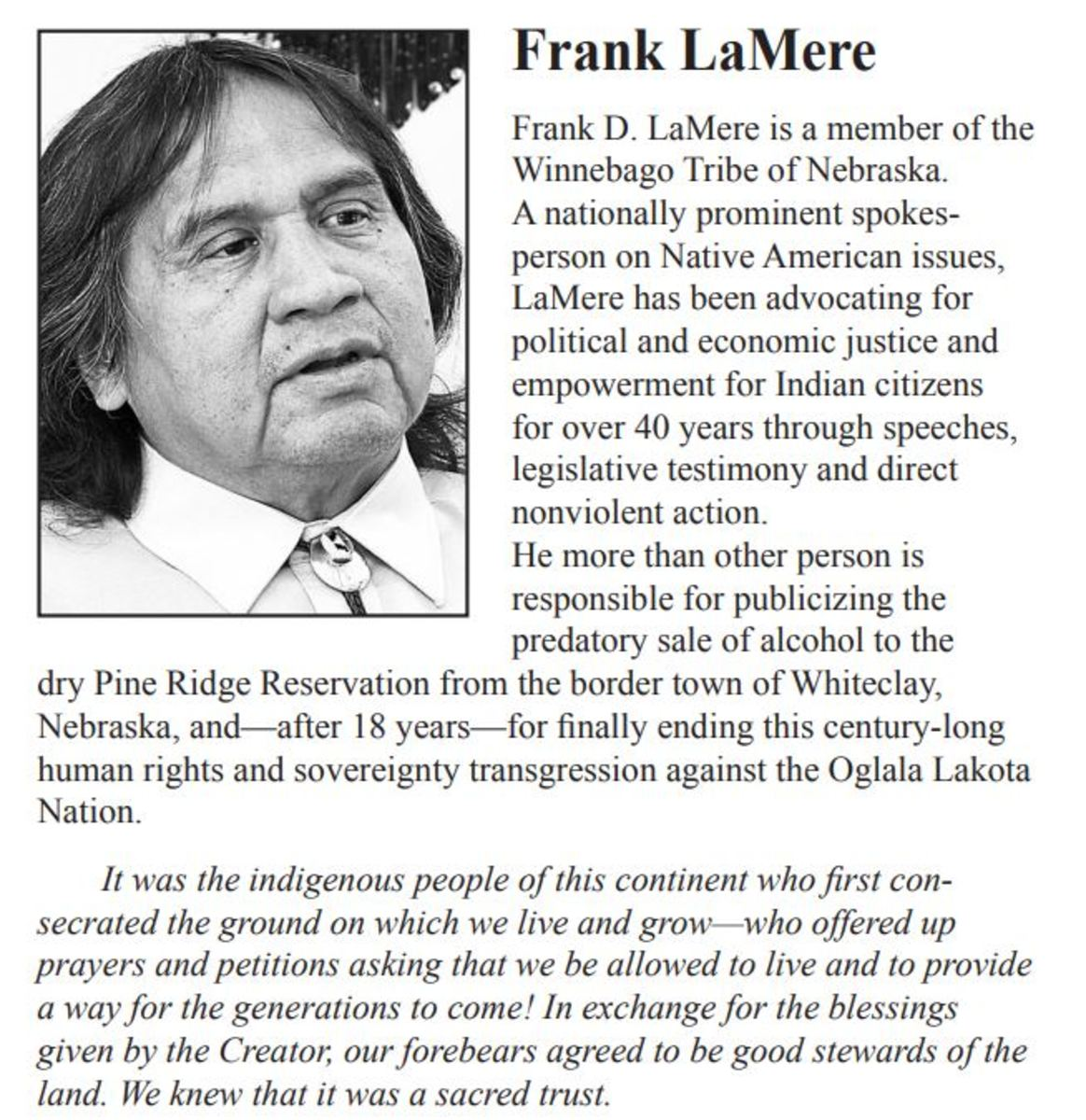 """Frank LaMere - Statement on Fossil Fuels from the 'Briefing Warren Buffet"""" statement by the Nebraskans for Peace state board."""