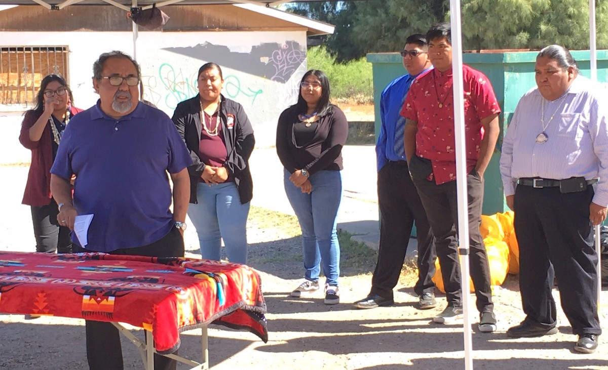 Rep. Raul Grijalva addressing Tohono O'odham youth as they celebrate the establishment of the Indian Youth Corps. (Courtesy image)