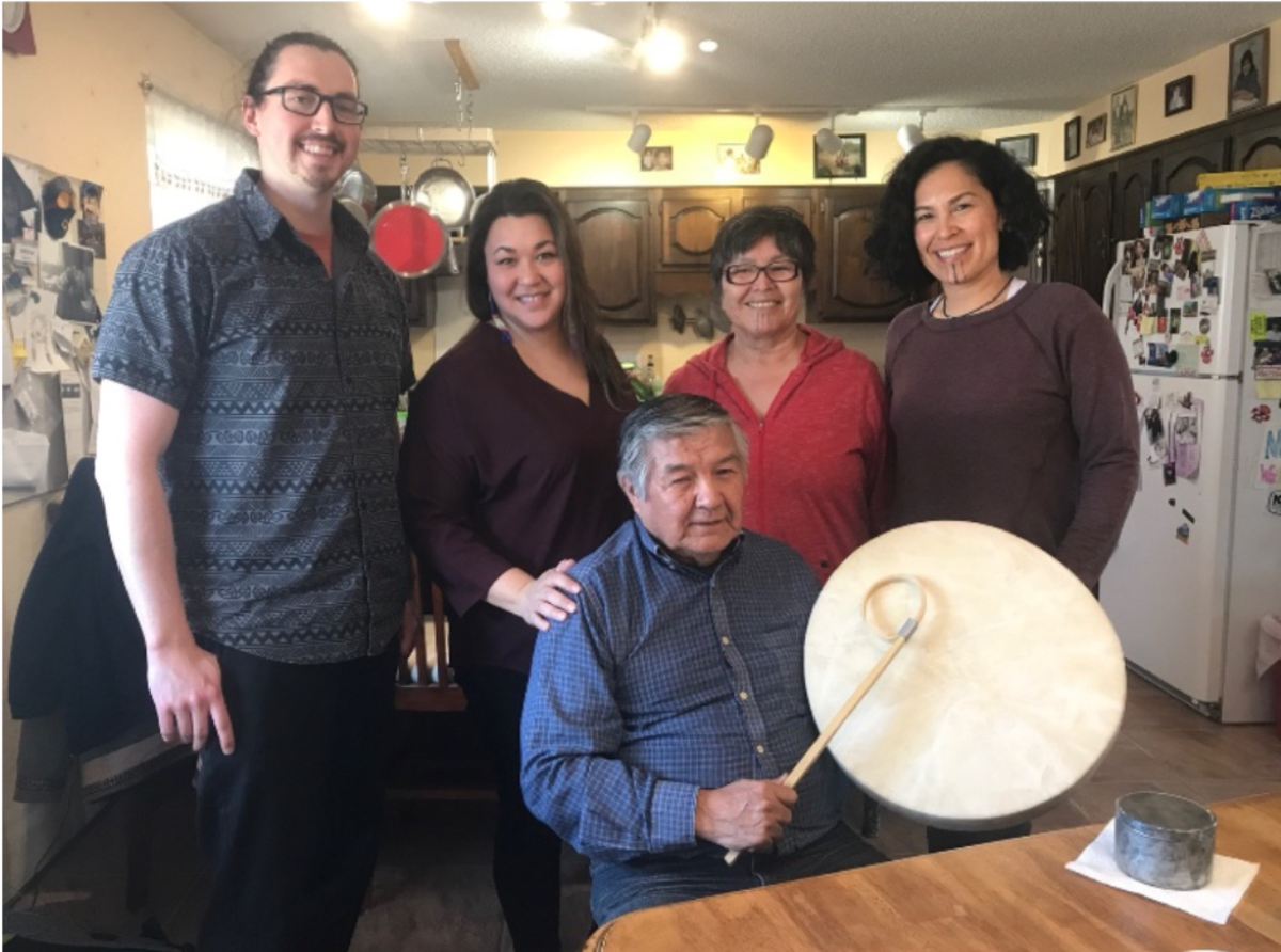 The Alaska Native Cultural Advisory Group consulted on nearly all facets of Molly of Denali. From the left, Dewey Kk'ołeyo Hoffman, Koyukon, Rochelle Adams, Koyukon/Gwich'in, Luke Titus, Athabascan,  and Adeline P. Raboff, Athabascan, with Creative Producer Princess Daazhraii Johnson, Neets'aii Gwich'in. Photo courtesy of Princess Daazhraii Johnson, Neets'aii Gwich'in.