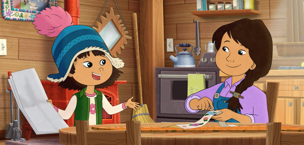 Molly of Denali is a show produced by WGBH, airing on PBS Kids. It stars Molly Mabray, a Gwich'in/Koyukon/Dena'ina Athabascan girl with a love of all things Alaska, and a great sense of humor.   The characters in Molly of Denali are as diverse as Alaska, coming from all backgrounds. There is a special highlight on Alaska Native cultures. Molly and her family live in an Athabascan village, and they travel around Alaska. Photograph courtesy of WGBH.