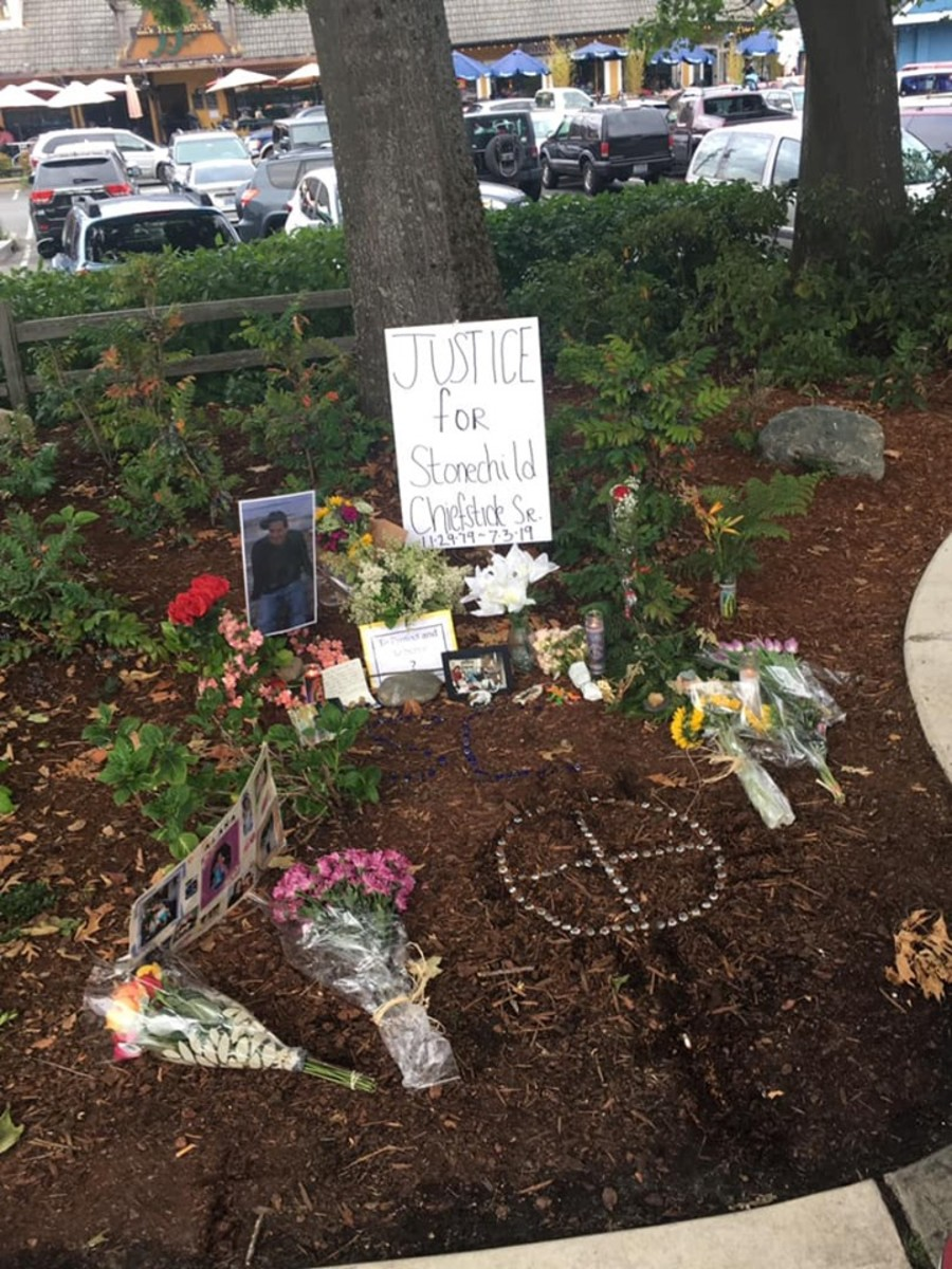 A memorial pays tribute to Stonechild Chiefstick at the waterfront park, not far from the site where he was killed.