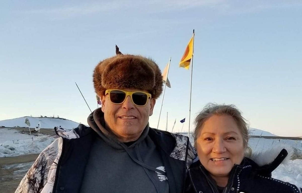 Ray took an assignment from Indian Country Today to go to the Standing Rock Camp in 2016-2017. He is pictured here with his wife Tracy.