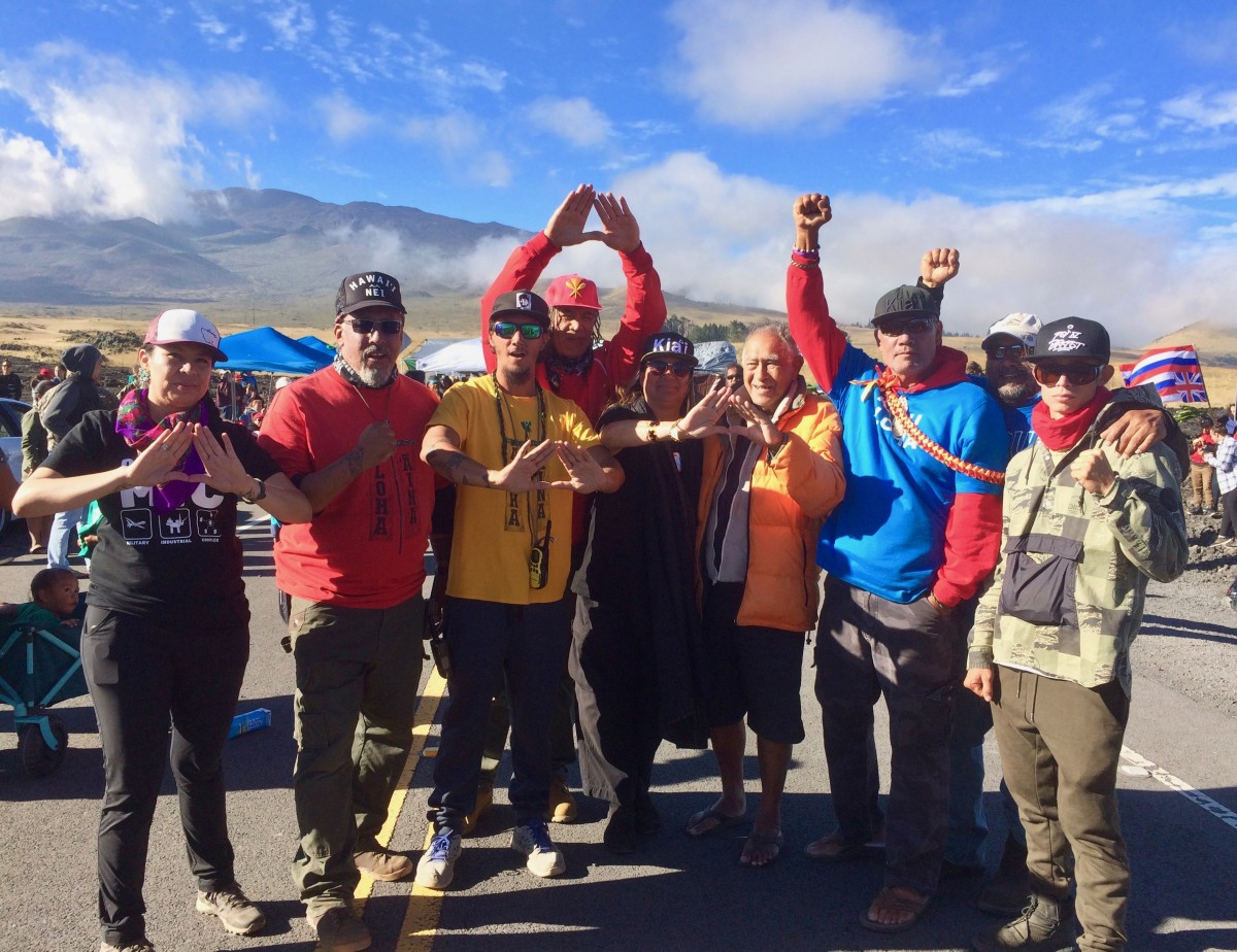 Leaders of the movement to protect Mauna Kea. (Photo by Anne Keala Kelly)