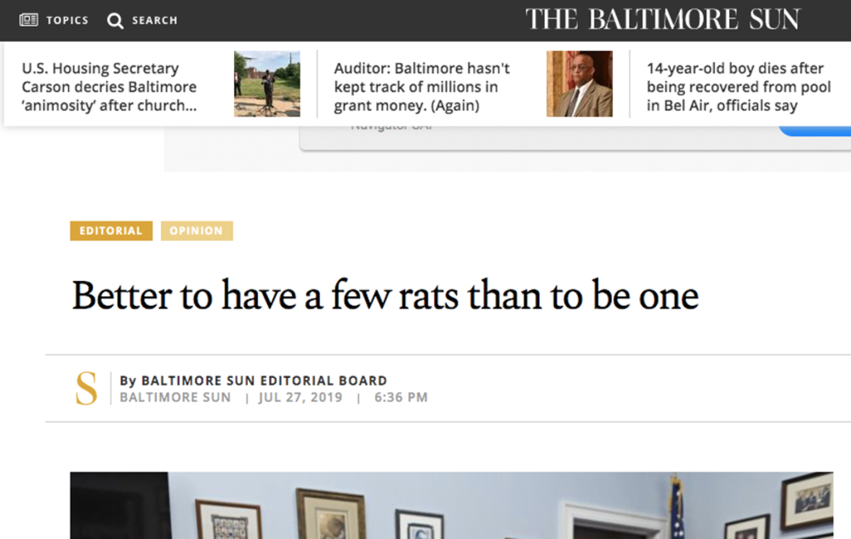 The Baltimore Sun published an editorial in response to President Trump.