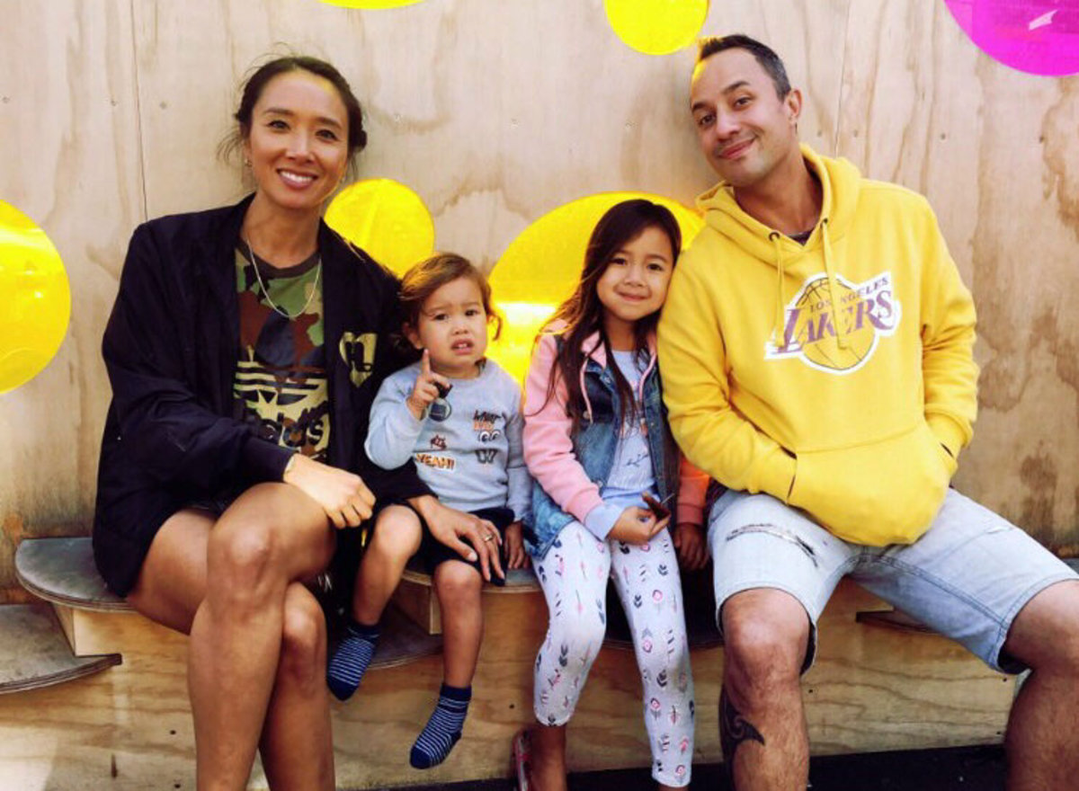 "Reeder, his loving partner and children. Reeder says ""learning the roots of indigenous culture is a way to find Indigenous identity. The impacts of colonization are known too well by both of our peoples."""