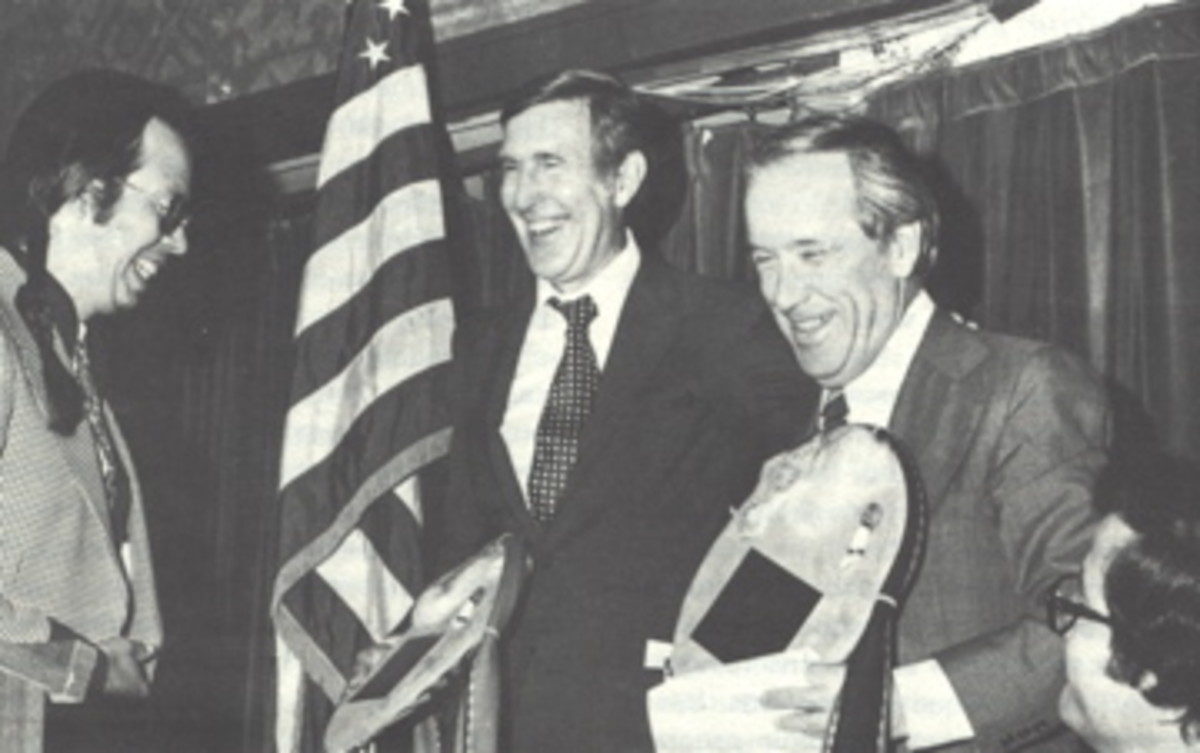 Rep. Morris Udall, D-Arizona, and Sen. Henry Jackson, D-Washington, being honored by Mel Tonasket, Colville, and the National Congress of American Indians. (NCAI Bulletin photo)