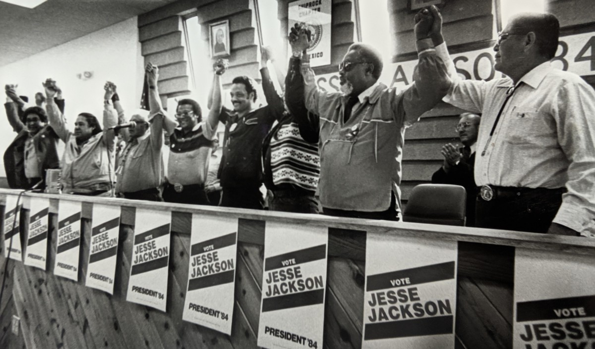 Jesse Jackson campaigning in Shiprock, (Photo by Paul Natonabah, Navajo Times)