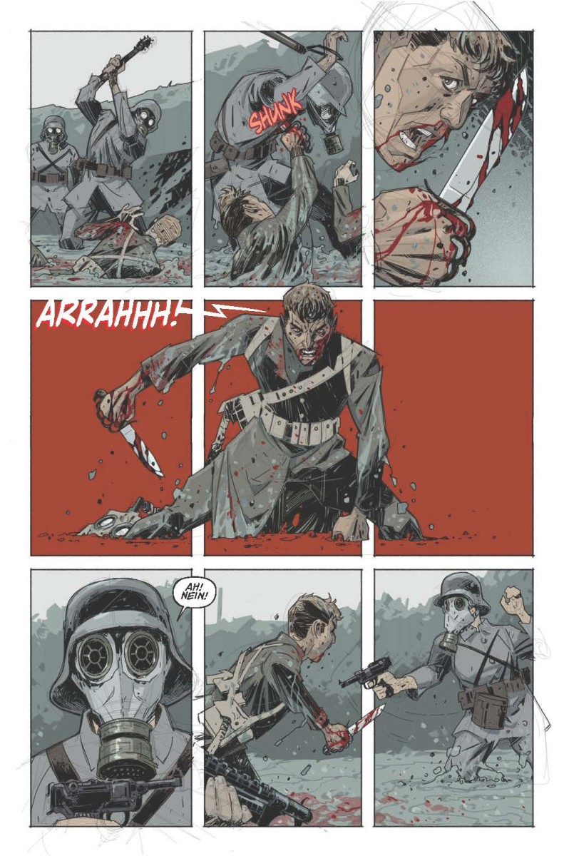 Pictured: Panels from Soldiers Unknown. Illustrations by Rahsan Ekedal.