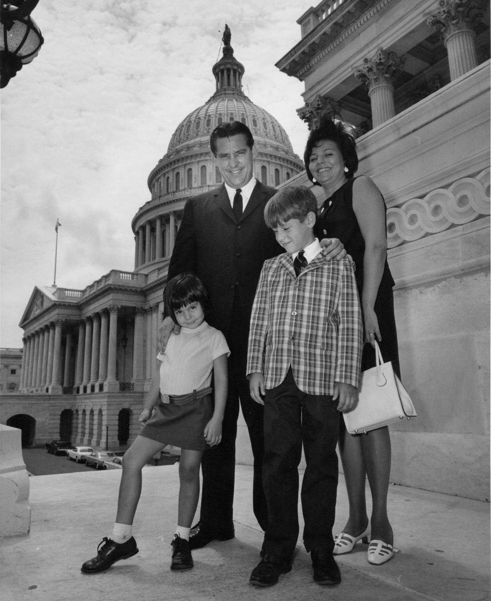 The Harris family posing for a photo outside of the Capitol Building in Washington D.C. (Photo via Laura Harris)