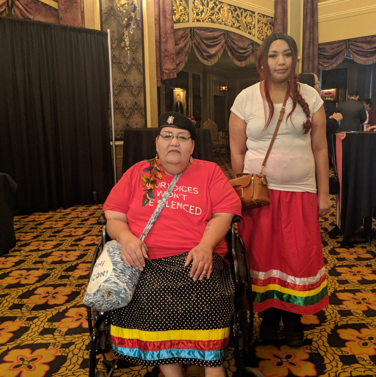 Brooke Waukau Johnson of Appleton, Wisconsin, drove eight hours to attend the historic forum in Sioux City, Iowa. (Photo by Taylor Notah/Turning Points Magazine)