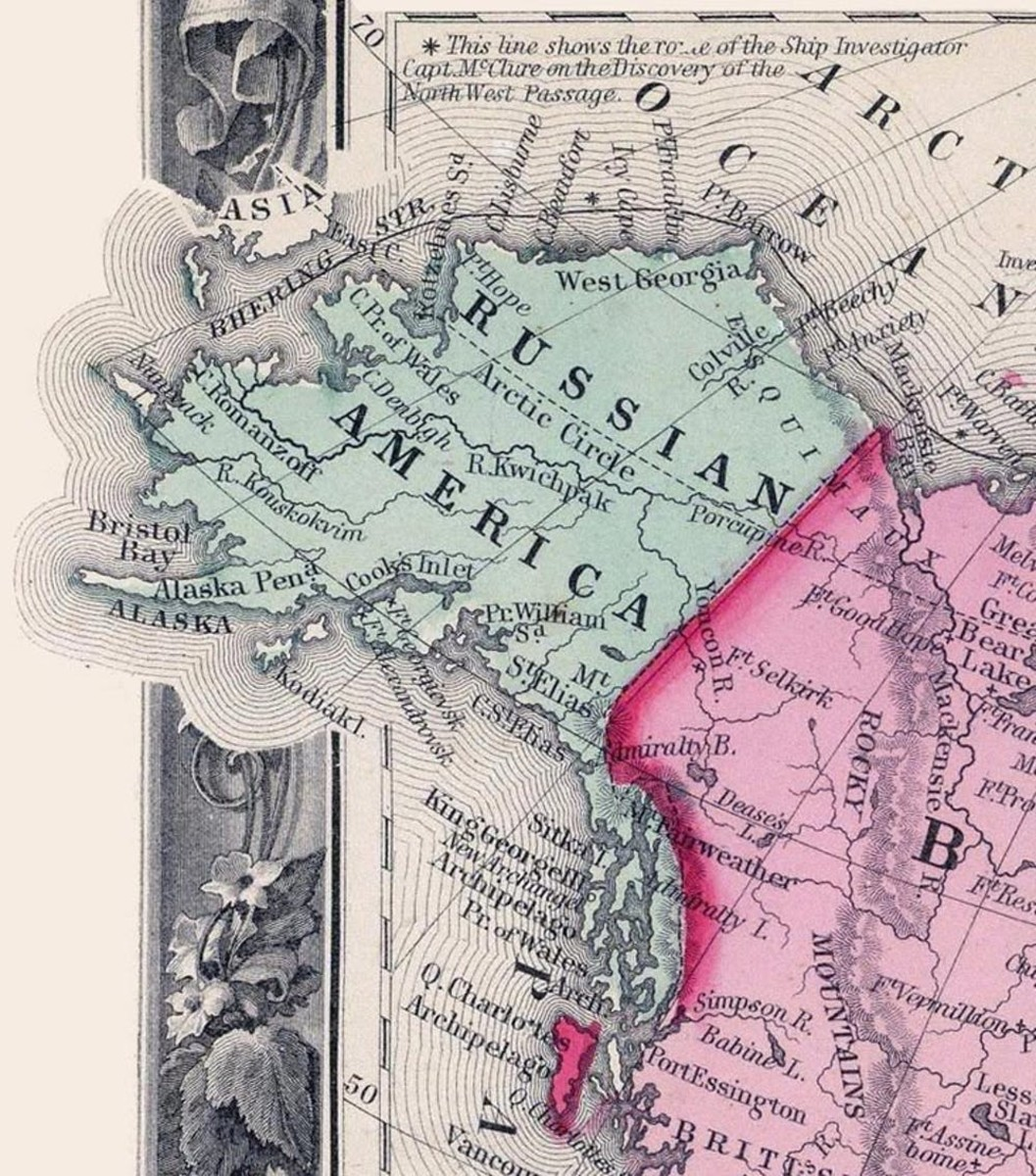"""Pictured: A map from before the U.S. purchased Alaska. In this 1860 map, Russian America (Alaska) was to the west of British America (Canada). Excerpt from the """"Map of North America. Showing its Political Divisions, and Recent Discoveries in the Polar Regions"""" in Mitchell's New General Atlas, Containing Maps Of The Various Countries Of The World, Plans Of Cities, Etc. Published By S. Augustus Mitchell, Jr. No. 31 South Sixth Street. 1860."""