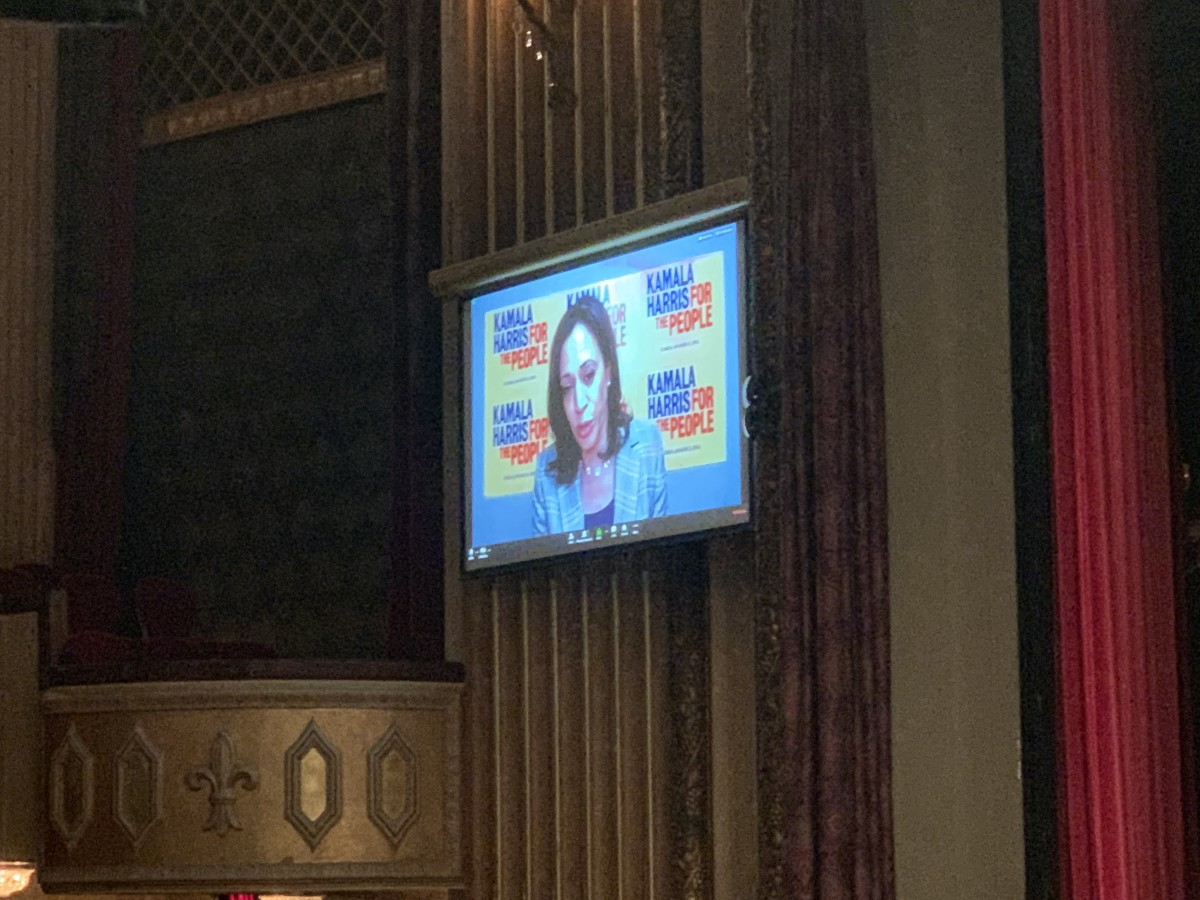 Kamala Harris gives remarks via live-stream at the Frank LaMere President Forum on Native Issues. (Photo by Jourdan Bennett-Begaye)