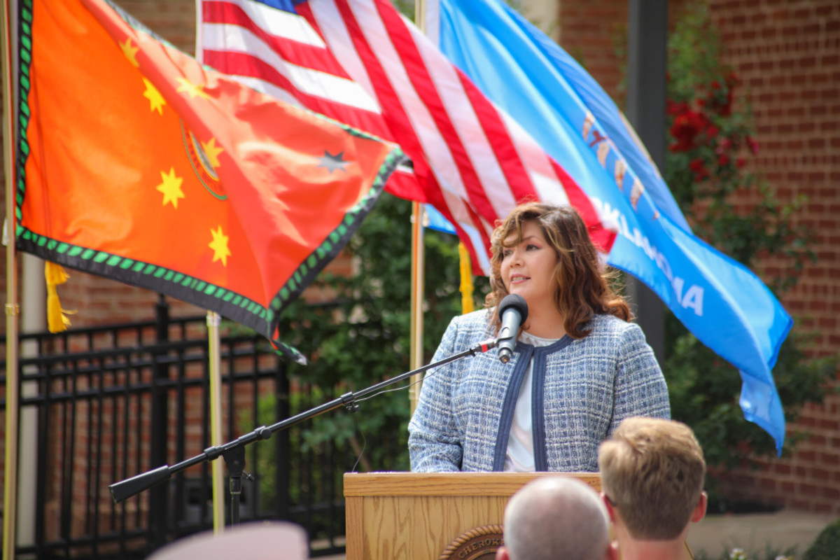 Pictured: Cherokee Nation Vice President of Government Relations Kim Teehee speaks on how honored she is to be nominated by Principal Chief Chuck Hoskin Jr. as the first-ever nominee to represent the tribe as a delegate in U.S. Congress.