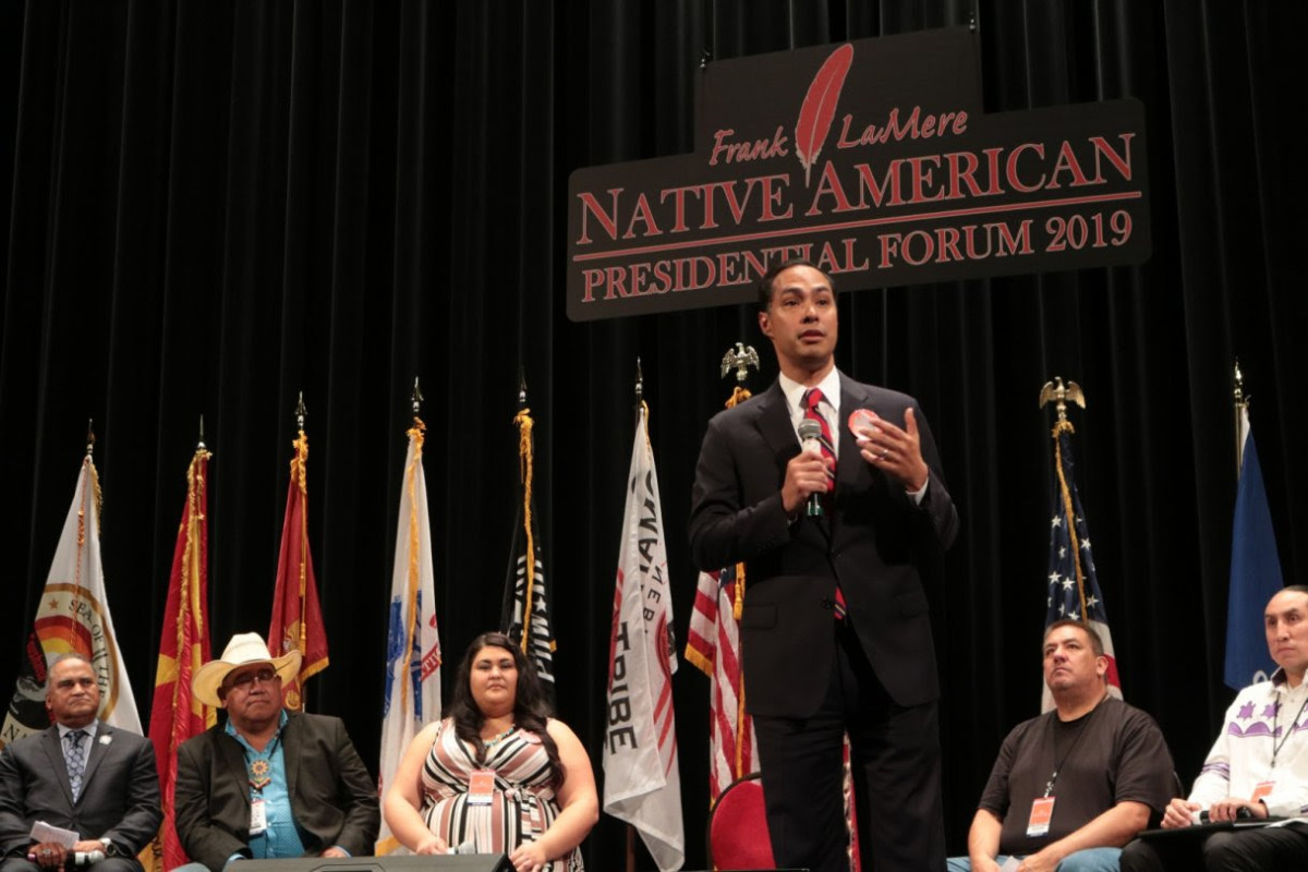 Pictured: Presidential Candidate Julían Castro at the Frank LeMere Native American Presidential Forum, August 2019.