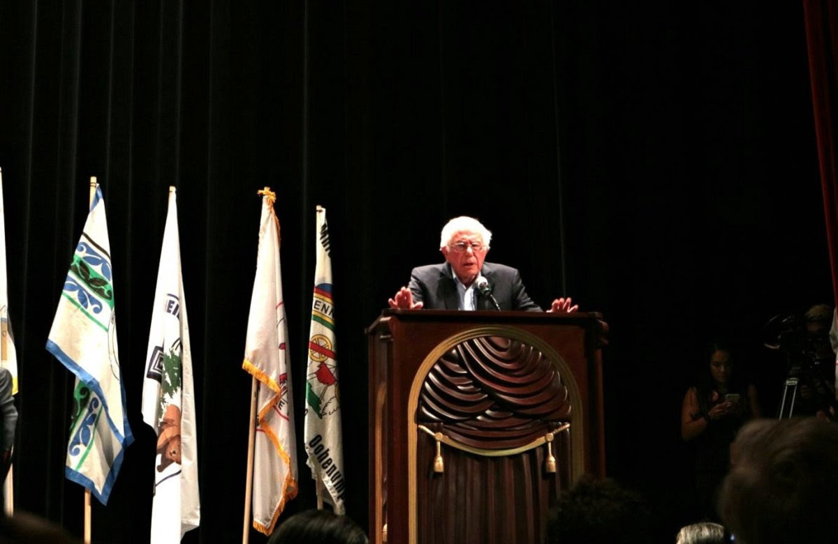 Pictured: Presidential Candidate Bernie Sanders at the Frank LeMere Native American Presidential Forum, August 2019.