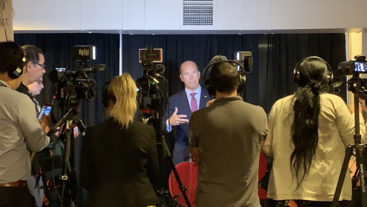 John Delaney takes questions from the press in the media room.