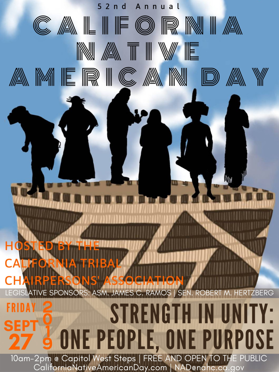 Poster for 52nd Annual California Native American Day  celebrations, Friday, September 27, 2019.
