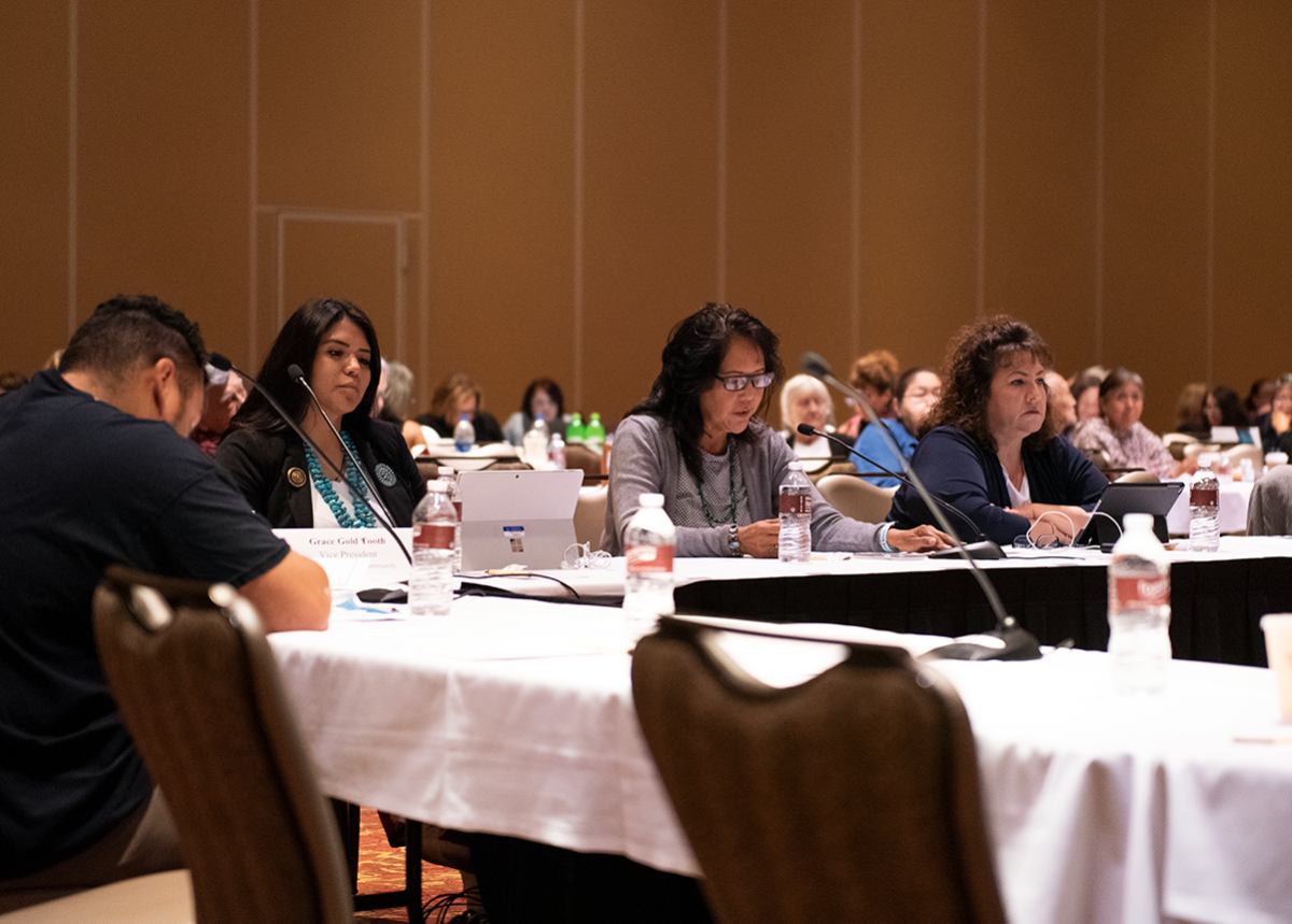 Pictured: Navajo Nation Council Delegate Charlaine Tso, left, and Division of Social Services Executive Director Deannah Neswood-Gishie, middle, gave input at the Office on Violence Against Women 2019 Government-to-Government Tribal Consultation in New Buffalo, MI on Aug. 21-22, 2019.