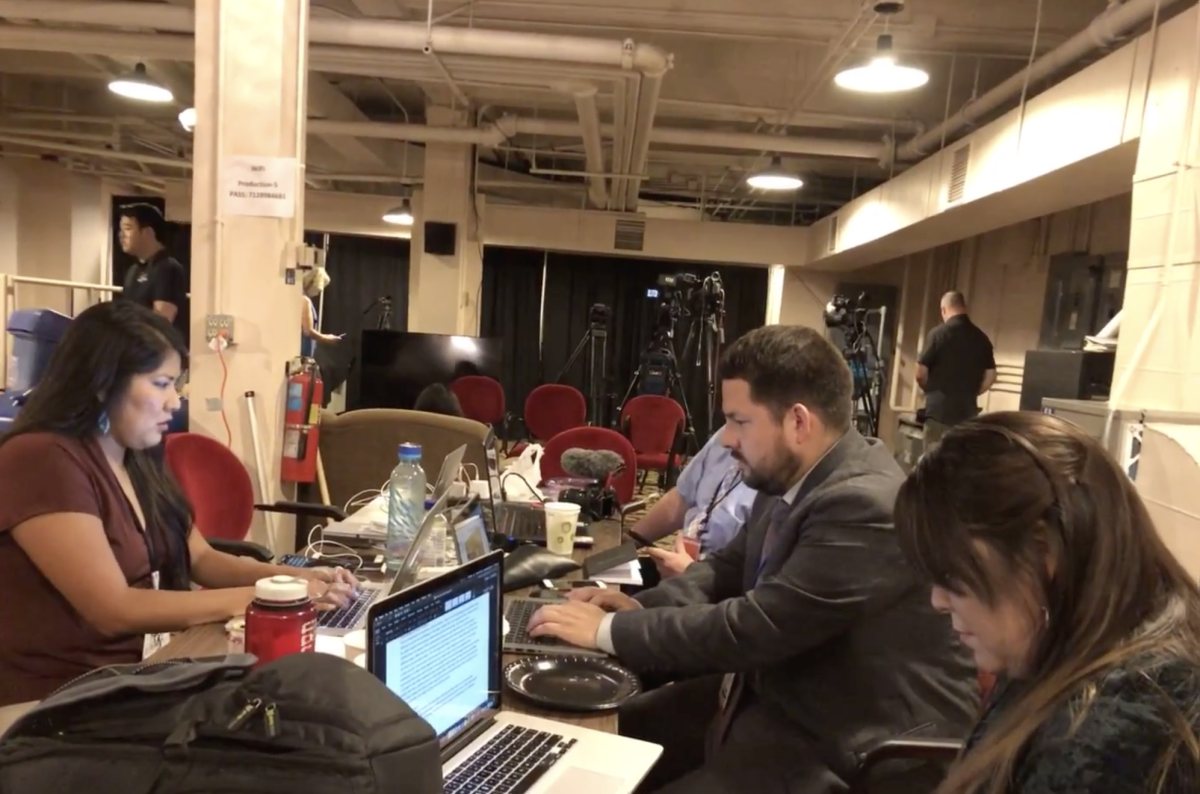 Indian Country Team working hard in the media room.