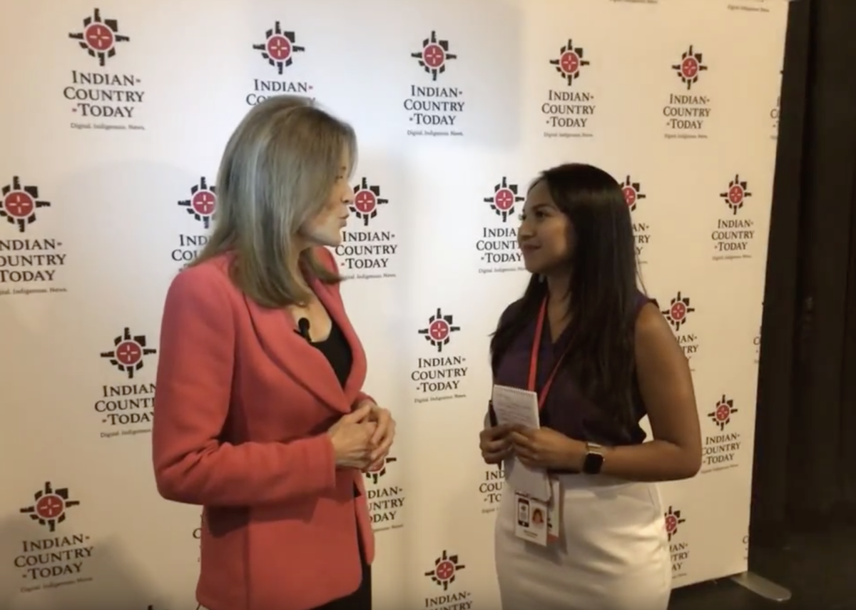 Reporter/Producer Aliyah Chavez interviews Marianne Williamson backstage.