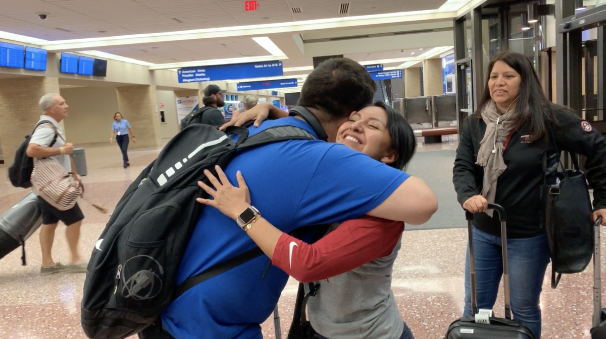 Reporters/Producers Kolby KickingWoman and Aliyah Chavez meet in-person for the first time at the airport in Omaha.