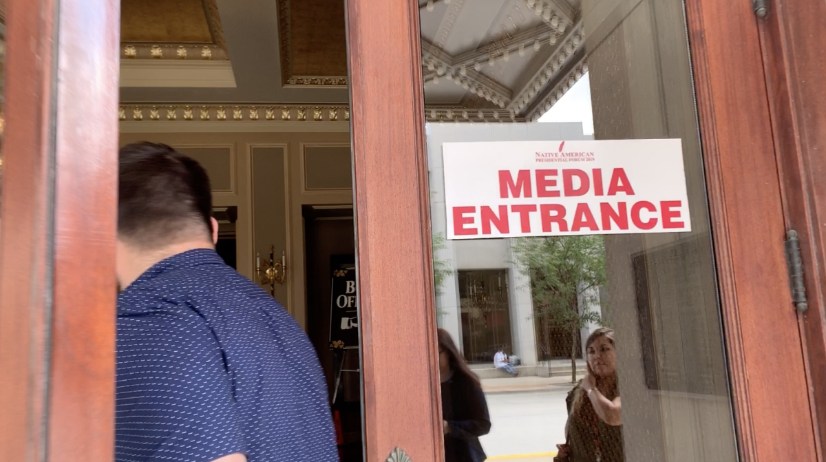 Media entrance at the Orpheum Theatre in Sioux City, Iowa, for the historic Frank LaMere Native American Presidential Forum.