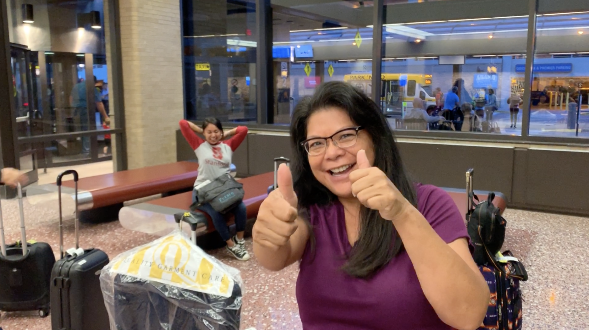 Indian Country Today Executive Producer Patty Talahongva is full of energy at the airport in Omaha, Nebraska.