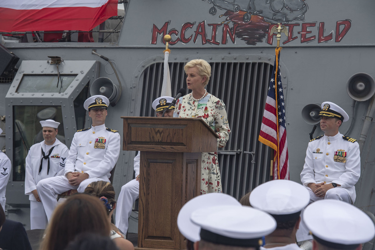 Cindy McCain spoke in July on the 25th anniversary of the USS John S. McCain's commissioning. The destroyer, named for Sen. John McCain's father and grandfather, both admirals, was rededicated to also honor the senator.