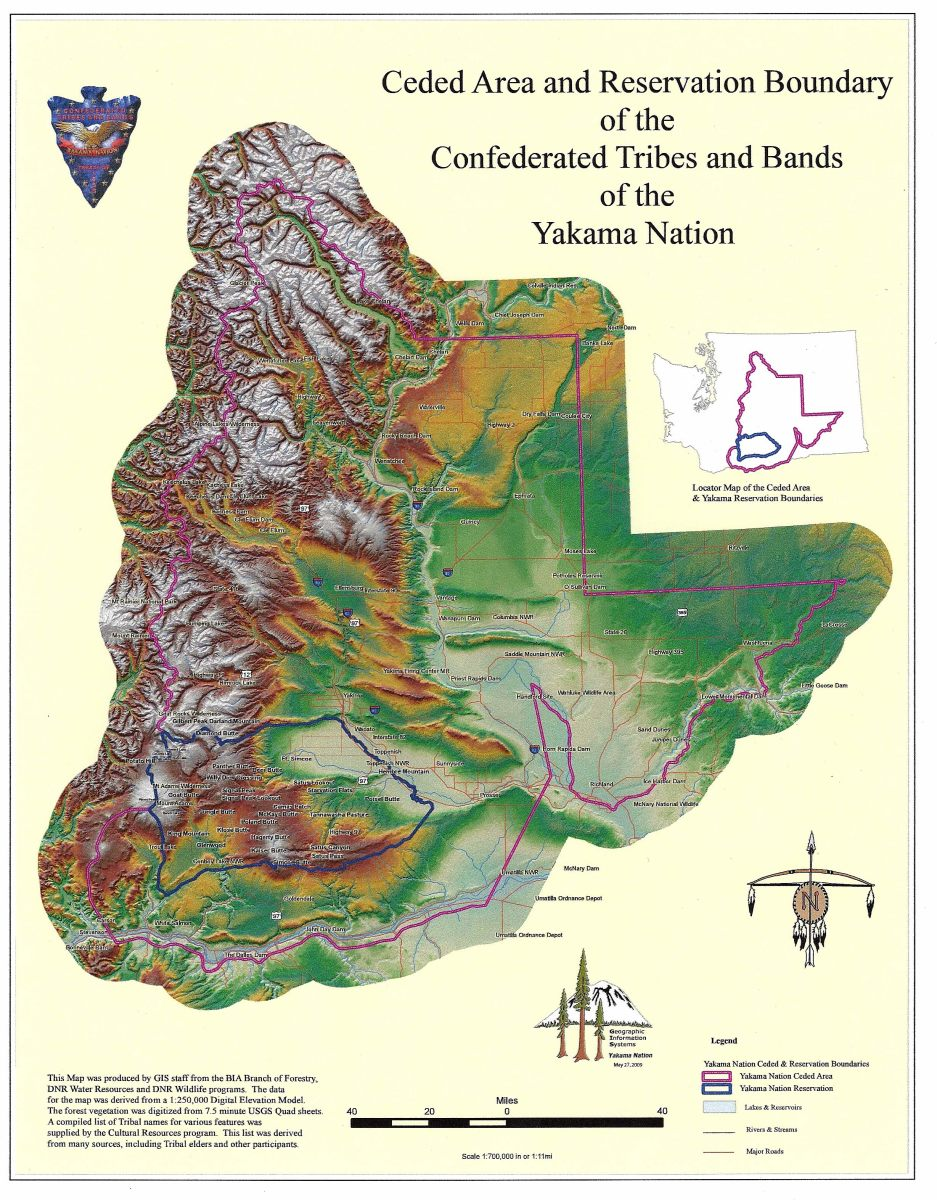 Pictured: Map of the Ceded Area and Reservation Boundary of the The Confederated Tribes and Bands of the Yakama Nation