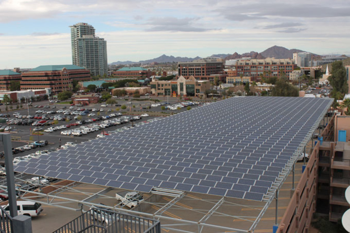 Pictured: Photovoltaic array atop a parking garage, Arizona State University-Tempe. Solar power supplies nearly 50 percent of the peak daytime electric load at ASU's four campuses and Research Park.