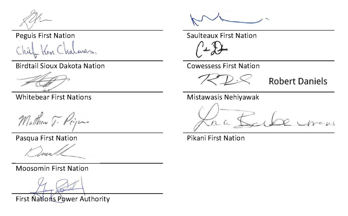 Pictured: Canadian First Nations leaders signatures of Minnesota letter