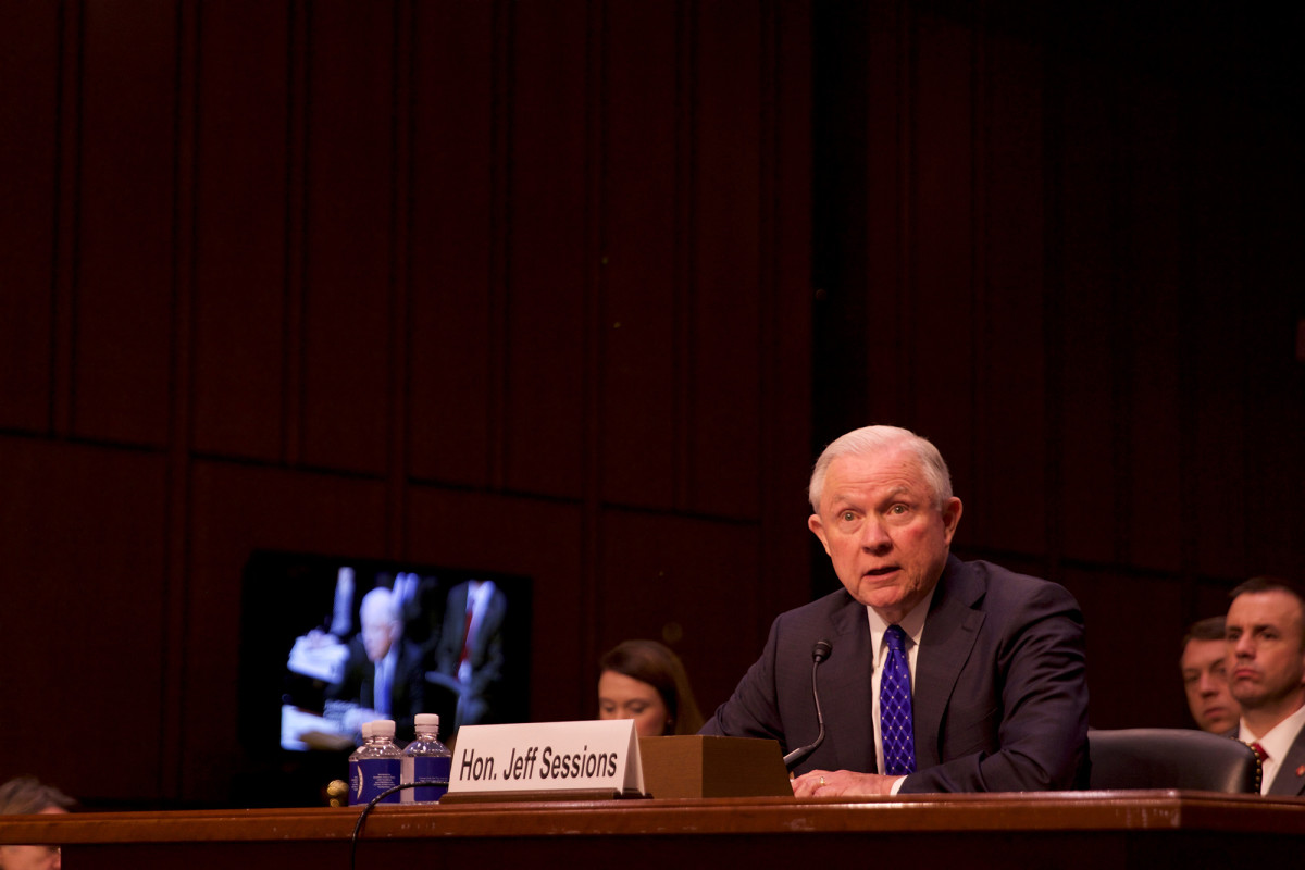 """Then-Attorney General Jeff Sessions in 2017 called for the end of DACA, which he called an unconstitutional """"executive amnesty policy."""" But two years later, Sessions is gone and DACA is still here. (Photo by Andrew Nicla/Cronkite News)"""