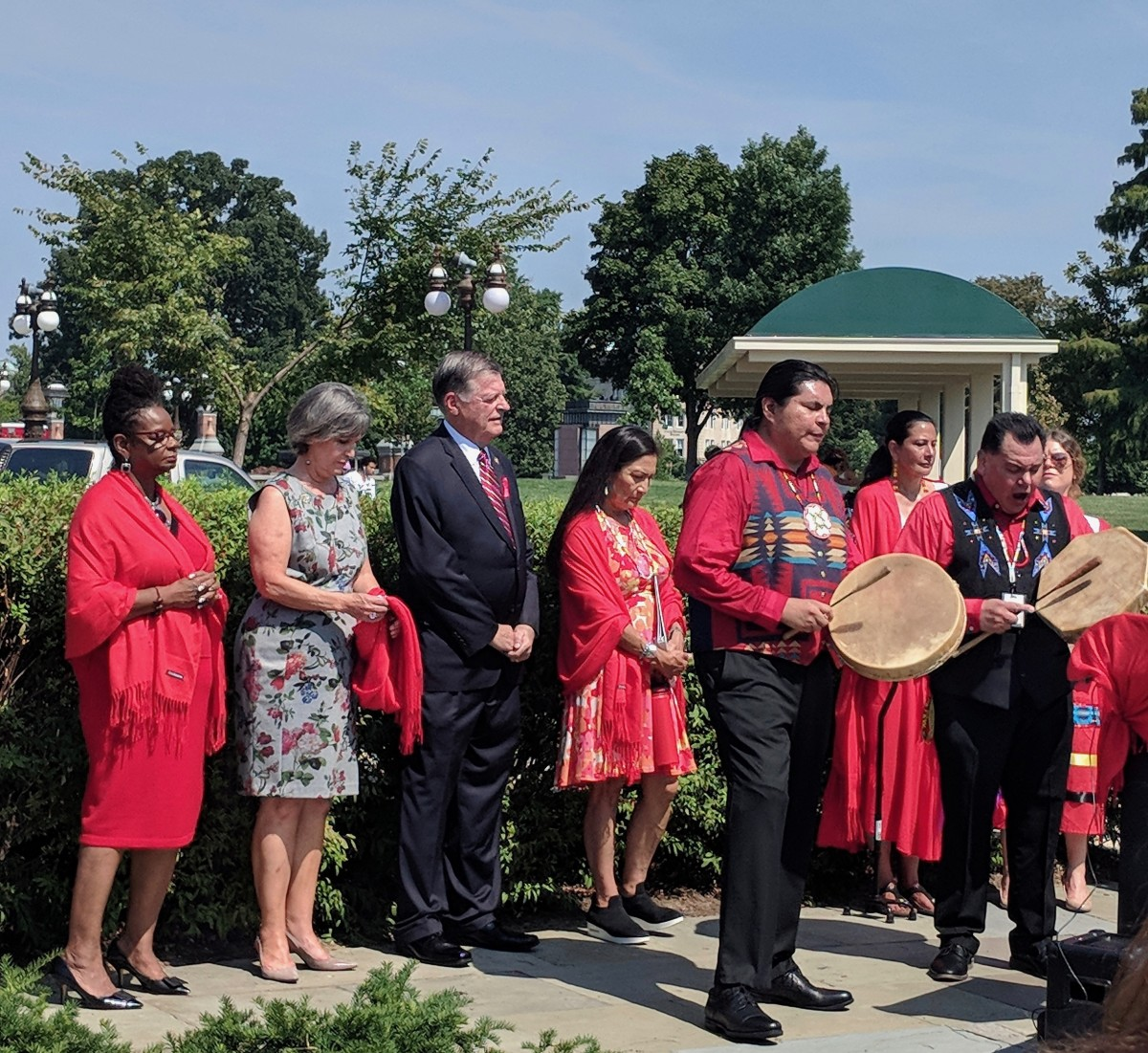 Left to right: Rep. Gwen Moore, Rep. Betty McCollum, Rep. Tom Cole and Rep. Deb Haaland (Photo by Kolby KickingWoman)