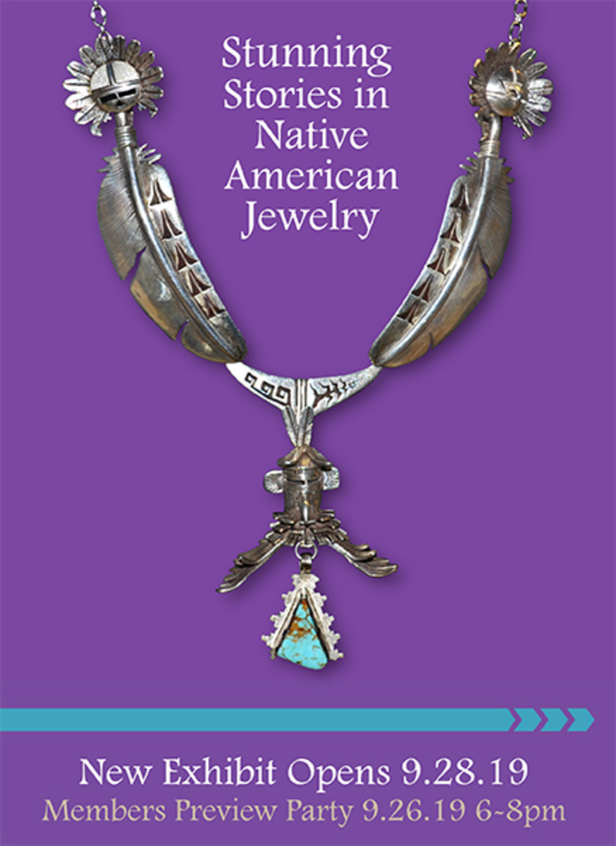 Stunning Stories in Native American Jewelry exhibit opens September 28, 2019 at the Mitchell Museum of the American Indian in Evanston, Illinois.