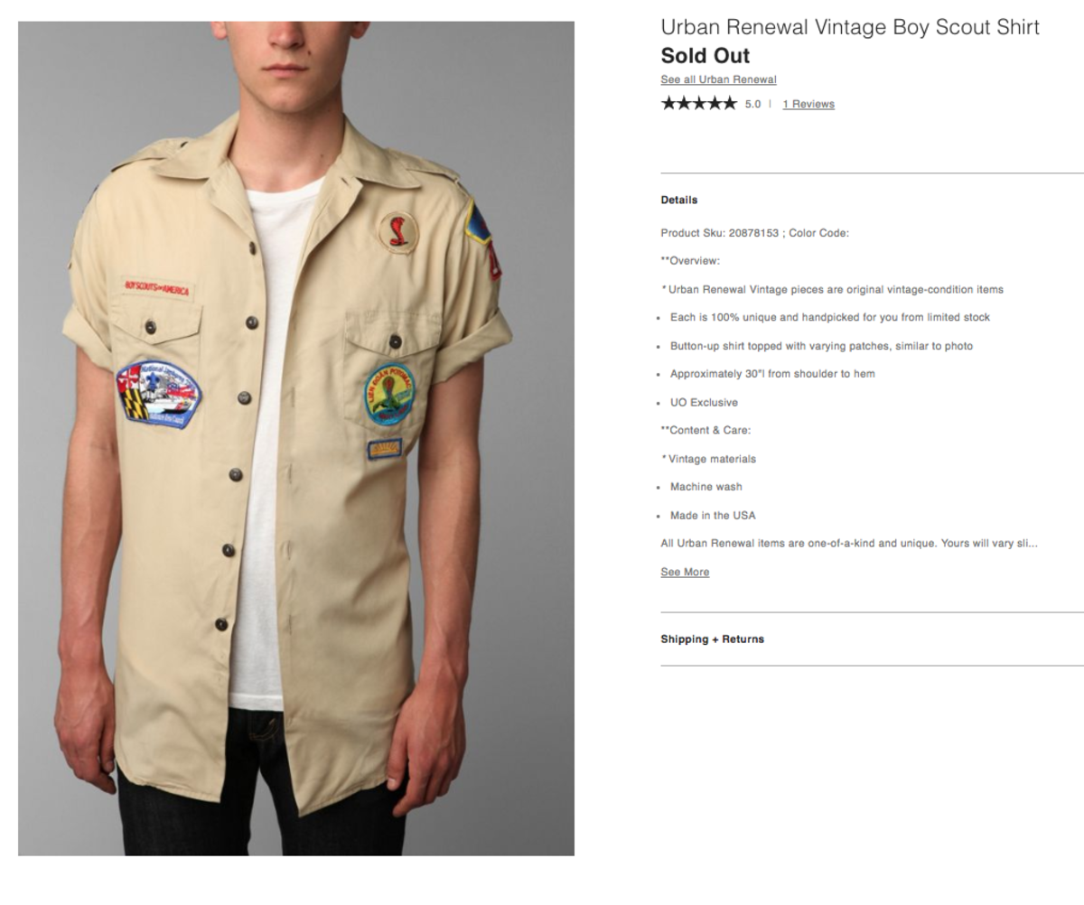 Urban Outfitters Pre-patched Boy Scouts Shirt