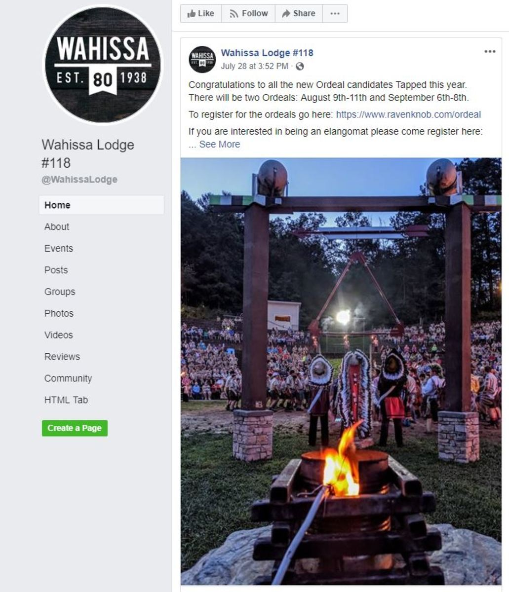 Order of the Arrow Facebook post - Wahissa Lodge July 28, 2019