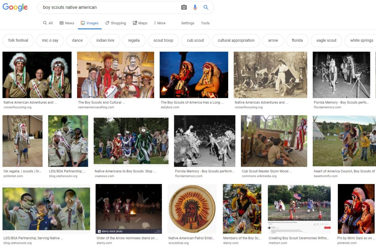 """A simple """"Boy Scouts Native American"""" Google image search reveals hundreds of images of individuals in """"regalia"""" - Screen capture"""