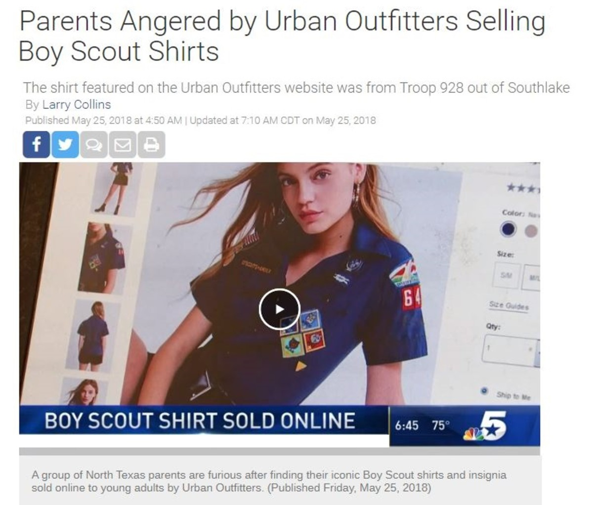 Screen capture of a television article on parents angered over the selling of a scout shirt with patches.