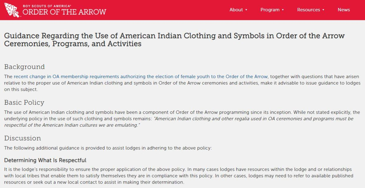 Order of the arrow policy - screen capture https://oa-bsa.org/about/membership/american-indian-clothing-and-symbols