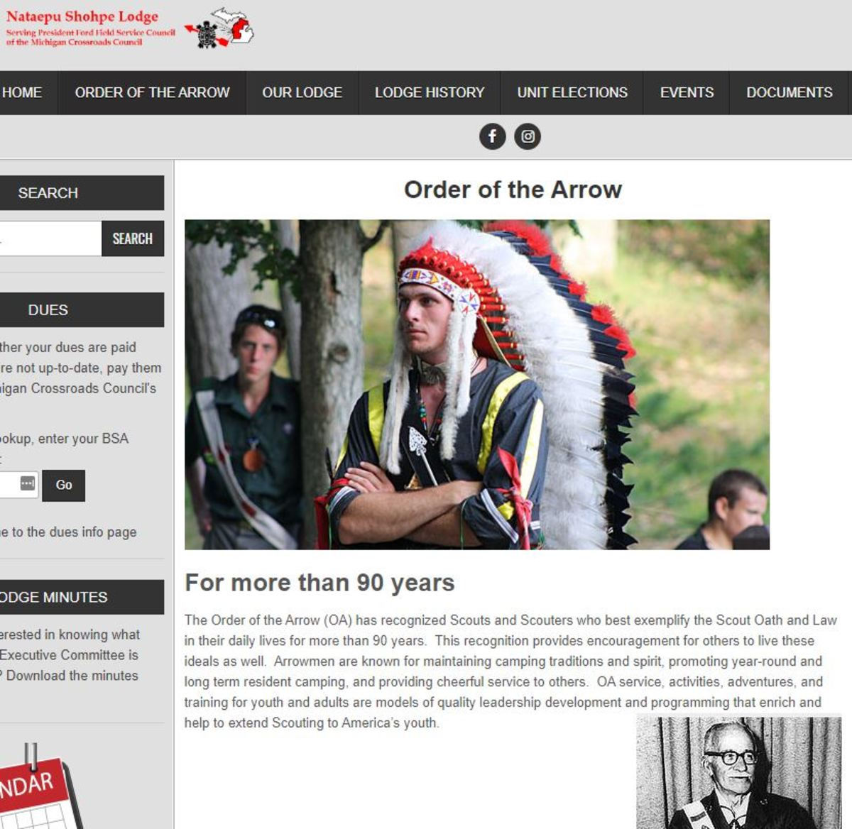 Screen capture Nataepu Shohpe Order of the Arrow website page