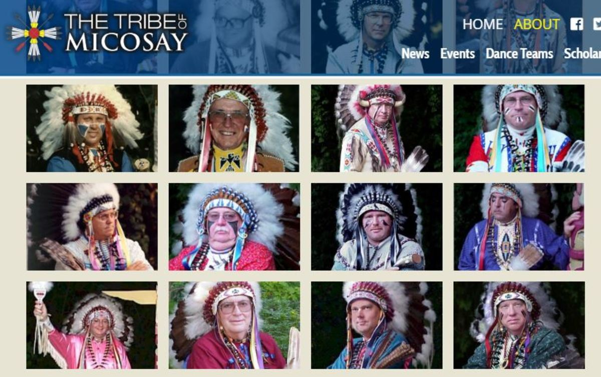 The Tribe of Mic-O-Say's website with organization leaders wearing headdresses
