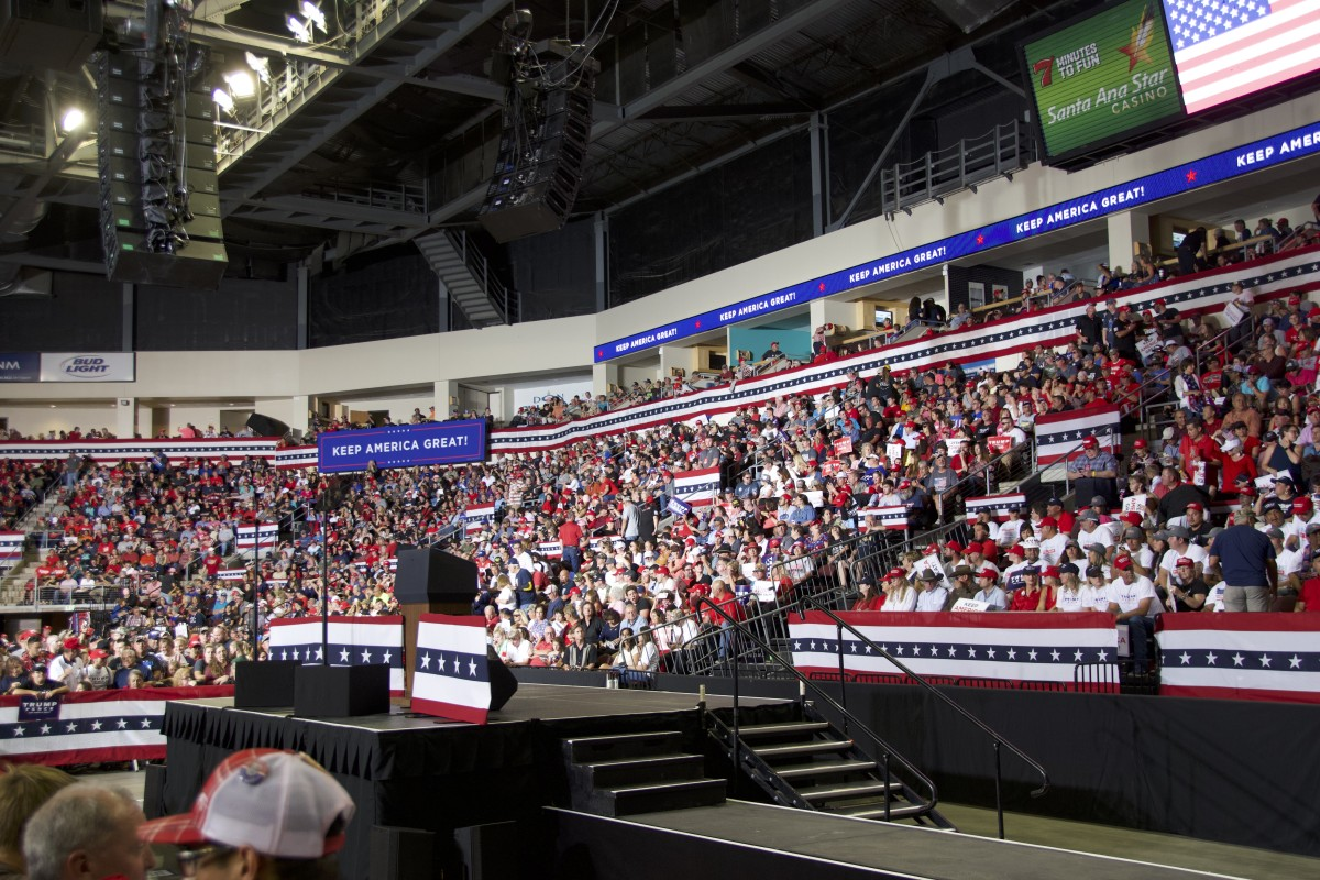 The crowd waits for Donald J. Trump, who is running for re-election in 2020, at the Santa Ana Star Center in Rio Rancho, New Mexico, on September 16, 2019.